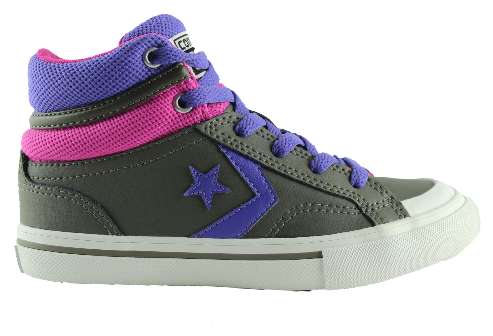 f033 converse pro blaze hi shoes trainers kids grey. Black Bedroom Furniture Sets. Home Design Ideas